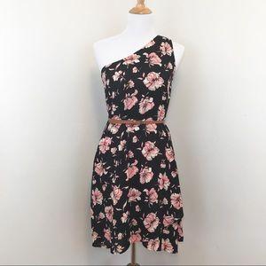 Dr2 by Daniel Rainn One Shoulder Blk Floral Dress
